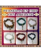Pulseras chips con amuleto